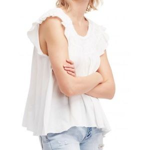 Free people white gathered blouse coconut top S